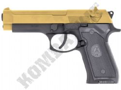 FS1207 BB Gun M9 Beretta Replica Airsoft Co2 Pistol Black Gold 2 Tone Metal